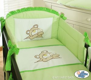 Bedding set 3-pcs (S70)- Teddy Bear green