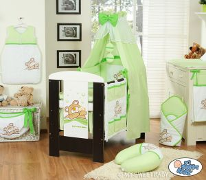 Bedding set 11-pcs with canopy (S60)- Teddy Bear Barnaba green