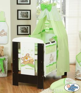 Bedding set 5-pcs with canopy (S70)- Teddy Bear Barnaba green