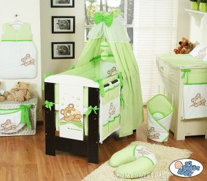 Bedding set 11-pcs with canopy (L70)- Teddy Bear Barnaba green