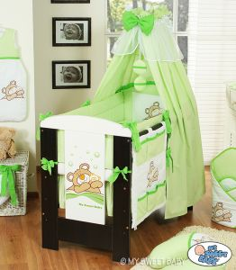 Bedding set 7-pcs with canopy (L70)- Teddy Bear Barnaba green