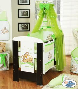 Bedding set 5-pcs with mosquito-net (S70)- Teddy Bear Barnaba green