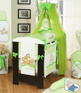 Bedding set 7-pcs with Mosquito-net (L60)- Teddy Bear Barnaba green