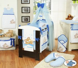 Bedding set 11-pcs with mosquito-net (L70)- Teddy Bear Barnaba blue