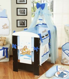 Bedding set 7-pcs with Mosquito-net (L60)- Teddy Bear Barnaba blue