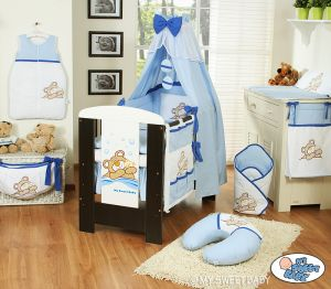 Bedding set 11-pcs with canopy (S60)- Teddy Bear Barnaba blau