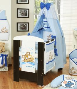 Bedding set 7-pcs with canopy (S70)- Teddy Bear Barnaba blue
