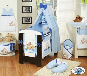 Bedding set 11-pcs with canopy (L70)- Teddy Bear Barnaba blue