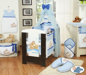 Bedding set 11-pcs with mosquito-net (S60)- Teddy Bear Barnaba blue
