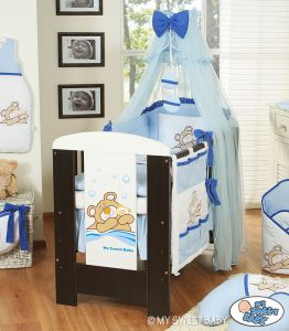 Bedding set 7-pcs with mosquito-net (S70)- Teddy Bear Barnaba blue