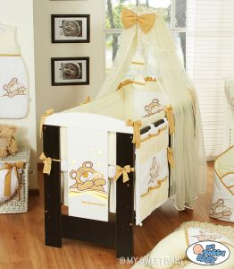 Bedding set 7-pcs with mosquito-net (L70)- Teddy Bear Barnaba cream