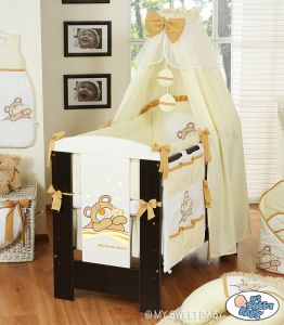 Bedding set 7-pcs with canopy (L70)- Teddy Bear Barnaba cream
