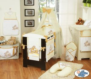Bedding set 11-pcs with mosquito-net (L70)- Teddy Bear Barnaba cream