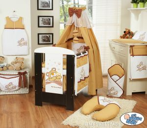 Bedding set 11-pcs with canopy (S60)- Teddy Bear Barnaba brown