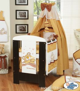 Bedding set 5-pcs with canopy (S60)- Teddy Bear Barnaba brown