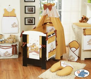 Bedding set 11-pcs with canopy (L70)- Teddy Bear Barnaba brown