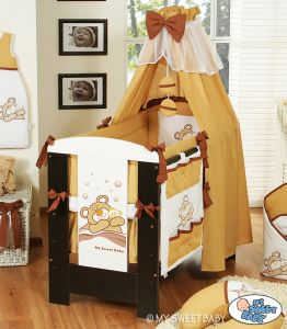 Bedding set 7-pcs with canopy (L70)- Teddy Bear Barnaba brown
