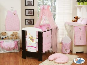 Bedding set 7-pcs with mosquito-net (S60)- Good night pink