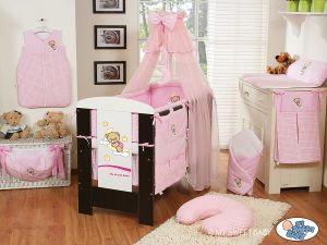 Bedding set 5-pcs with mosquito-net (S60)- Good night pink