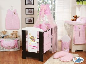 Bedding set 5-pcs with mosquito-net (S70)- Good night pink