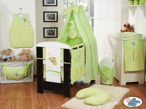 Bedding set 5-pcs with canopy (L60)- Good night green