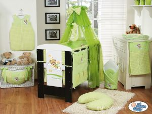 Bedding set 5-pcs with mosquito-net (L70)- Good night green