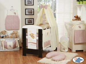 Bedding set 5-pcs with canopy (S60)- Good night brown