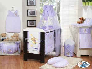 Bedding set 5-pcs with mosquito-net (S60)- Good night lilac