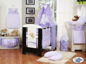 Bedding set 5-pcs with mosquito-net (S70)- Good night lilac