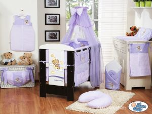 Bedding set 5-pcs with mosquito-net (L70)- Good night lilac