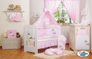 Bedding set 11-pcs with canopy- Donkey Luca pink
