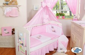 Bedding set 5-pcs with canopy- Donkey Luca pink
