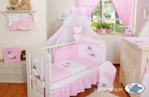 Bedding set 5-pcs with mosquito-net- Donkey Luca pink