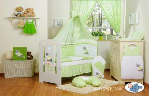 Bedding set 11-pcs with canopy- Donkey Luca green