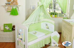 Bedding set 5-pcs with canopy- Donkey Luca green
