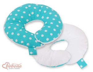 Double- sided baby Neck support pillow- White dots on turquoise