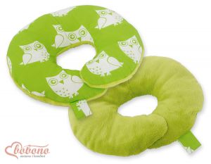 Double- sided baby Neck support pillow- Owls green