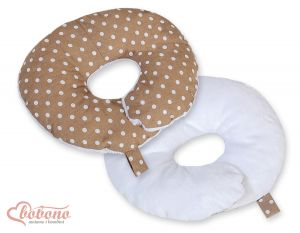 Double- sided baby Neck support pillow- White dots on brown