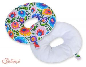 Double- sided baby Neck support pillow- Floral pattern white