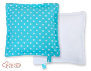 Doublesided Pillow- White dots on turquoise