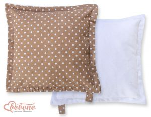 Doublesided Pillow-  White dots on brown