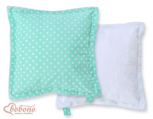 Doublesided Pillow-  White dots on mint