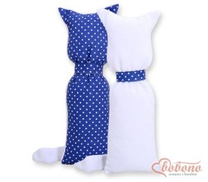 Cuddly cat double-sided- Navy blue with white dots