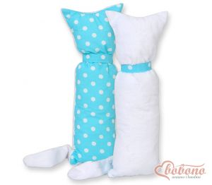 Cuddly cat double-sided-Simple white dots on turquoise