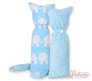 Cuddly cat double-sided-Simple  Elephants blue