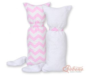 Cuddly cat double-sided-Simple Chevron pink