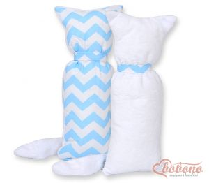Cuddly cat double-sided-Simple Chevron blue