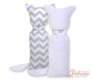 Cuddly cat double-sided-Simple Chevron gray
