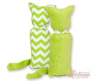 Cuddly cat double-sided-Simple Chevron green