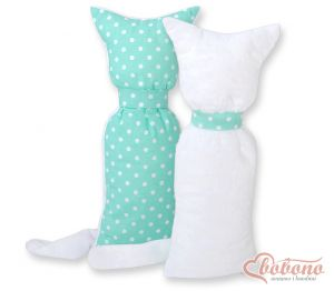 Cuddly cat double-sided- White dots on mint